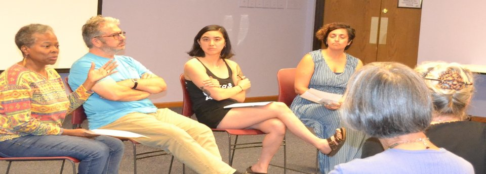 The Occupation of the American Mind panel: Jamala Rogers, Steve Tamari, Stephanie Aria, Sandra Tamari